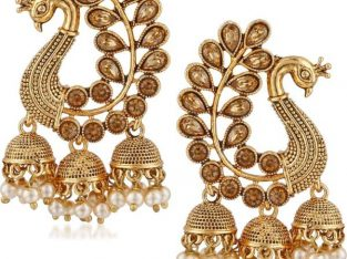 Meenaz Wedding Bridal Gold Pearl Peacock Kundan Jhumka
